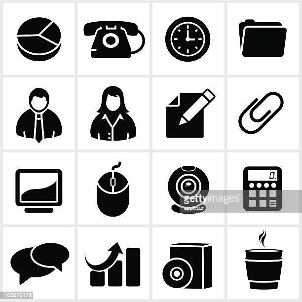 ilustrações, clipart, desenhos animados e ícones de ícones de negócios preto - clipe de papel