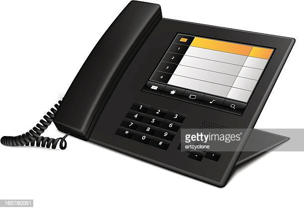 black business landline telephone on white background - phone cord stock illustrations, clip art, cartoons, & icons