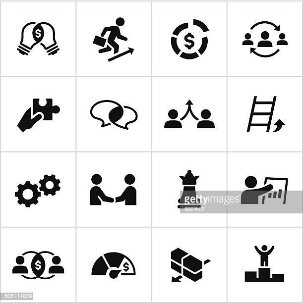 black business strategy icons - co ordination stock illustrations