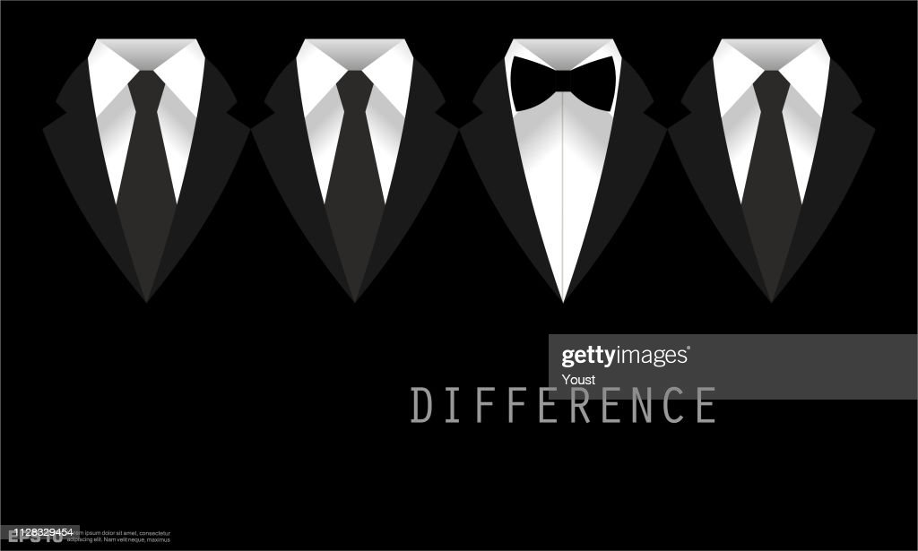Black Business Suit with a Tie and Bow Tie Difference Concept : stock illustration