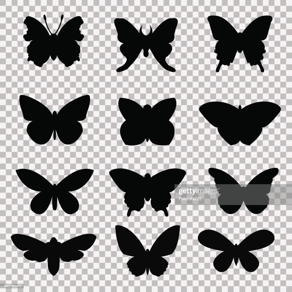 Black butterflies set on transparent background
