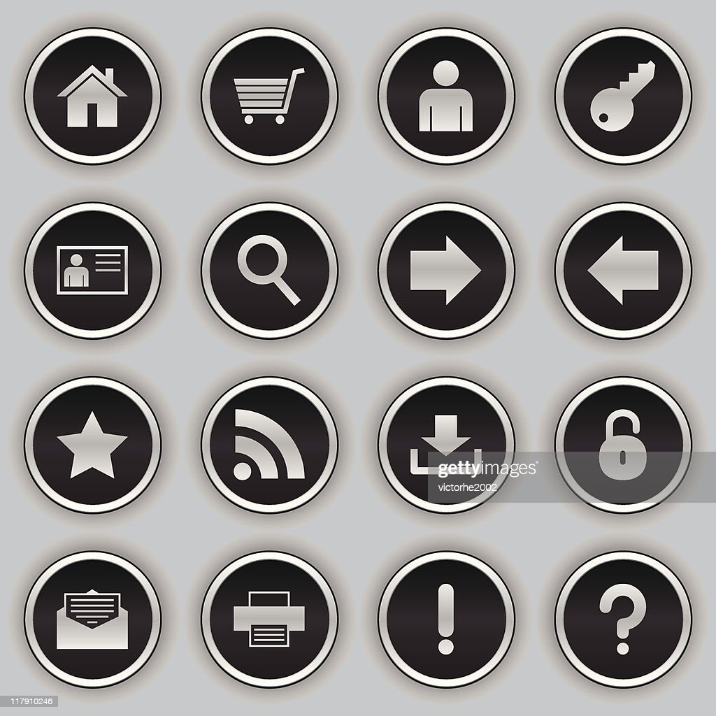 black button icons - web