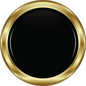 A black button with a golden rim