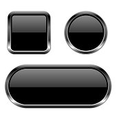 Black buttons. 3d glass icons with chrome frame