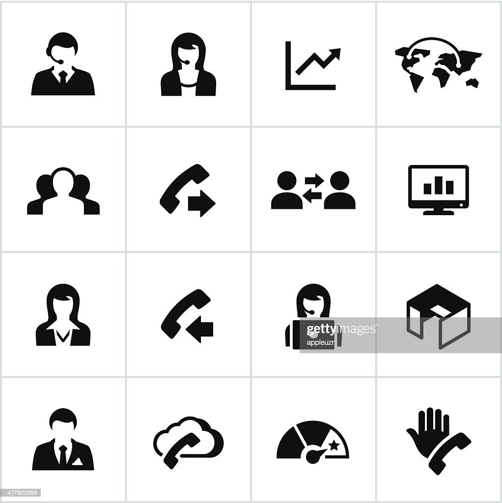 Black Call Center Icons