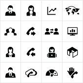 Black Call Center Icons