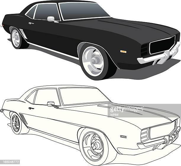 ilustrações, clipart, desenhos animados e ícones de camaro preto - 1969 - carro de corrida