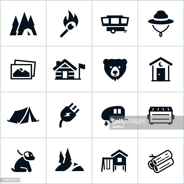 black campground icons - tent stock illustrations, clip art, cartoons, & icons