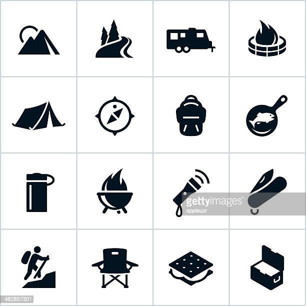 black camping icons - tent stock illustrations, clip art, cartoons, & icons