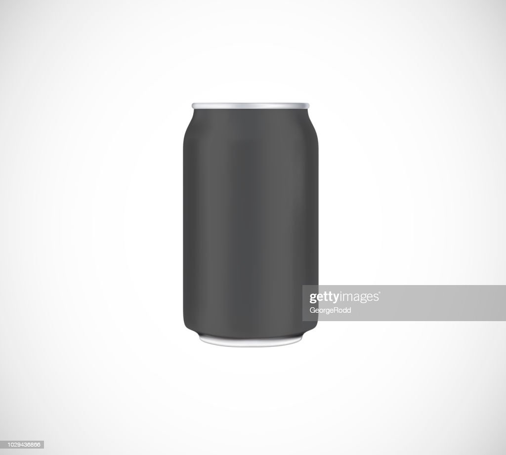 Black can front view. Can vector visual 330 ml. For beer, lager, alcohol, soft drinks, soda advertising.