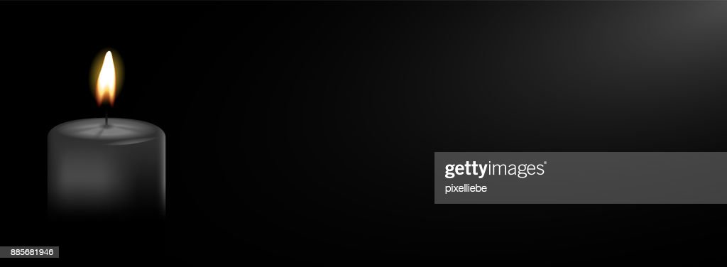 Black candle with black background vector