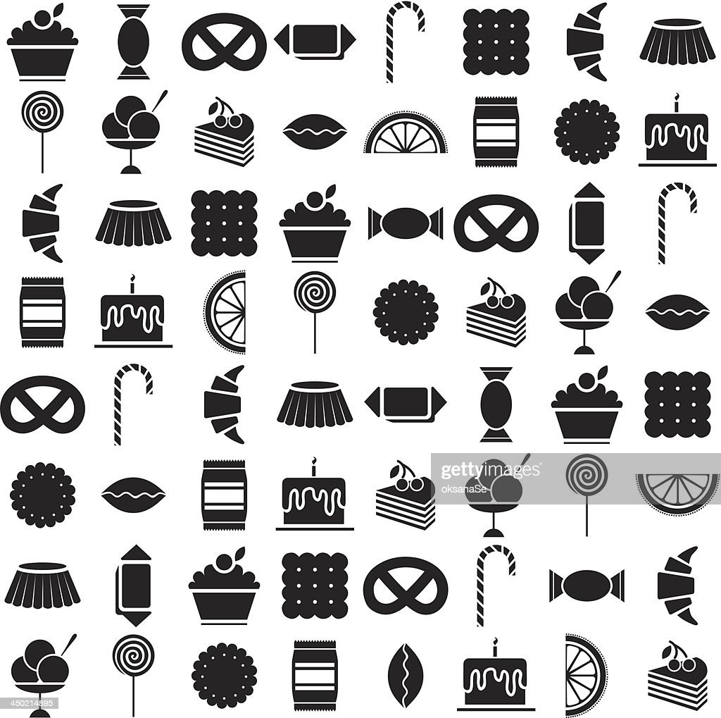 black candy icons set
