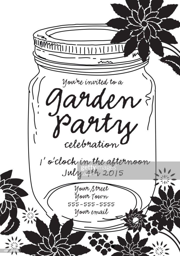Black Canning jar spring Garden Party invitation design template : Vector Art