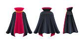 Black cape, superhero cape, dracula vampire carnival costume.
