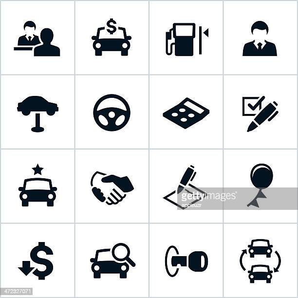 black car dealership icons - car salesperson stock illustrations, clip art, cartoons, & icons