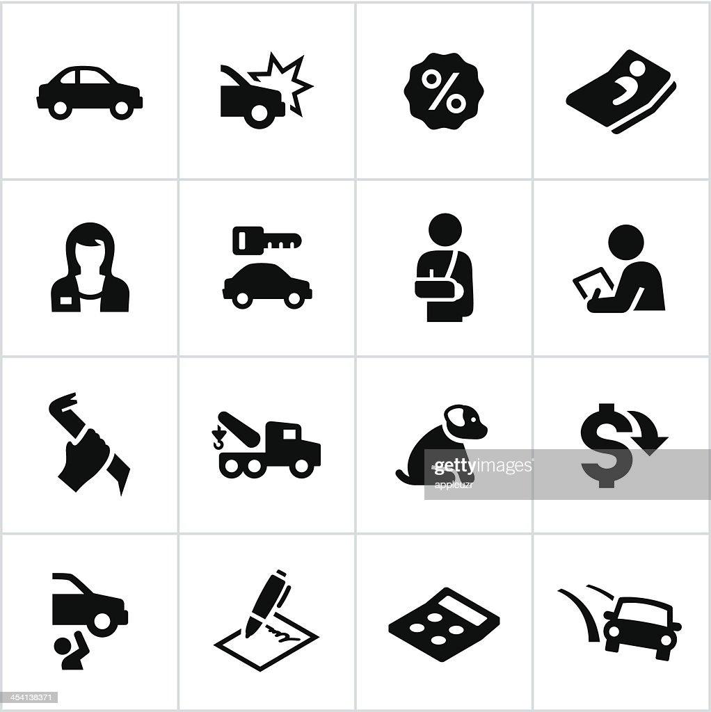 Black Car Insurance Icons