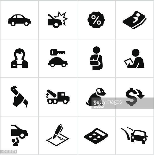 black car insurance icons - broken arm stock illustrations, clip art, cartoons, & icons
