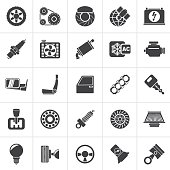 Black Car parts and services icons