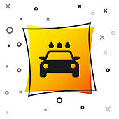 Black Car wash icon isolated on white background. Carwash service and water cloud icon. Yellow square button. Vector Illustration