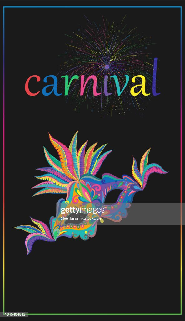 Black carnival background with color mask and firework.