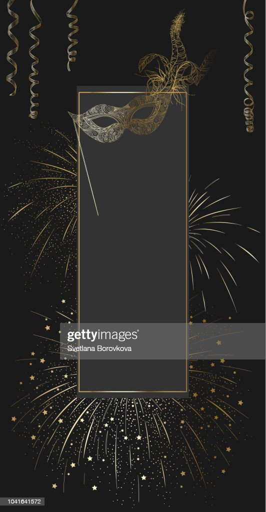 Black carnival background with gold mask and firework.