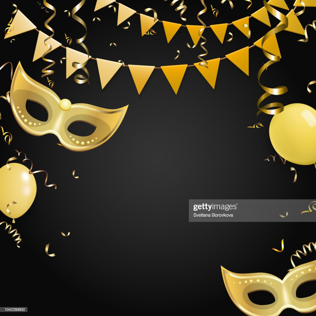 Black carnival background with gold masks and flags.
