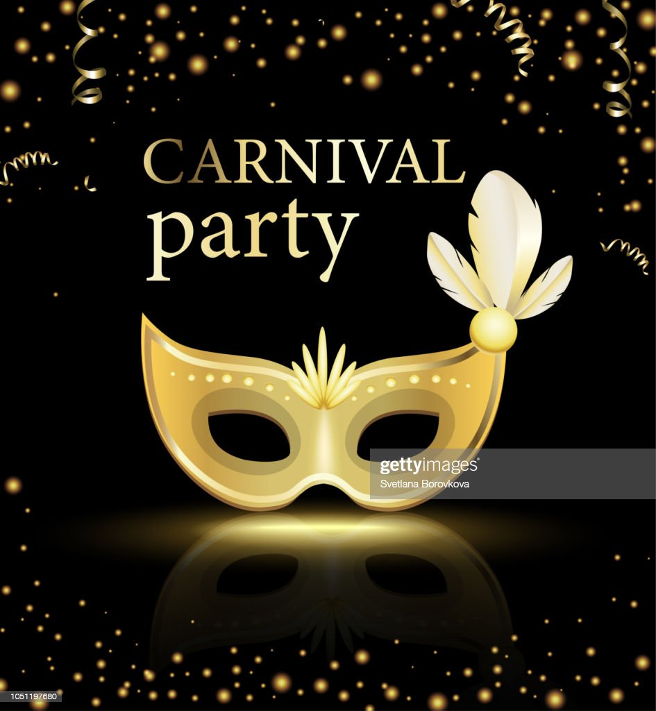 Black carnival party background with gold mask.