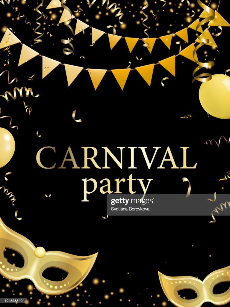 Black carnival party background with gold masks.