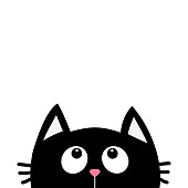 Black cat face head silhouette looking up. Cute cartoon character. Kawaii animal. Baby card. Pet collection. Flat design style. White background. Isolated.