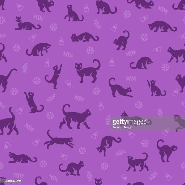 illustrations, cliparts, dessins animés et icônes de chat noir halloween seamless pattern - chat noir