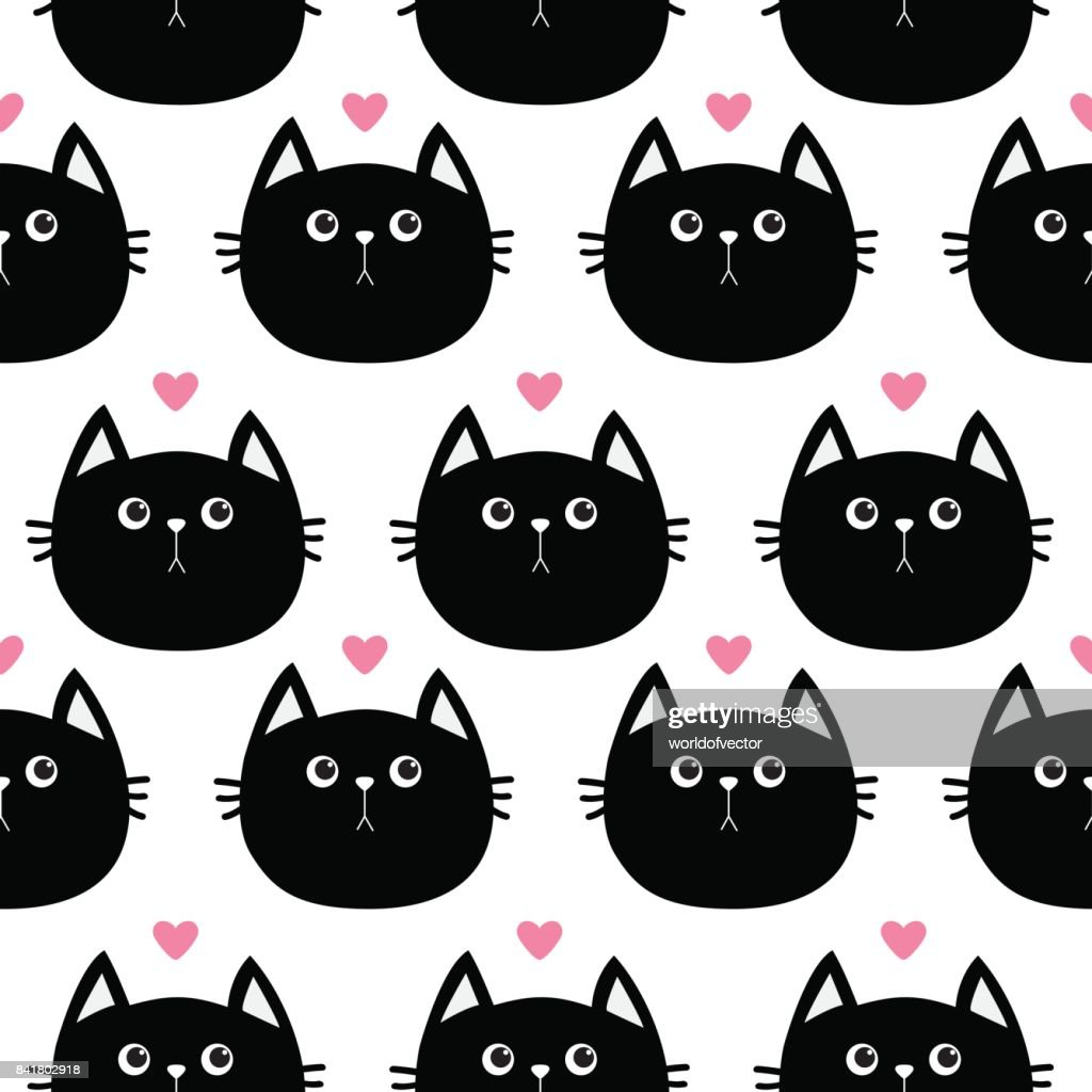 Black Cat Head With Little Pink Heart Cute Cartoon Character Baby