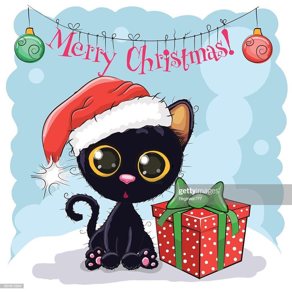 Black Cat in a Santa hat
