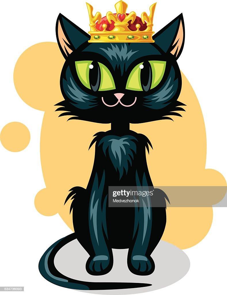 Black cat in golden crown