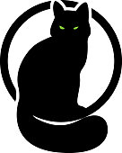 black cat in the circle. second variant