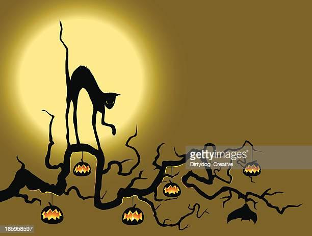 illustrations, cliparts, dessins animés et icônes de chat noir sur la citrouille tree - chat noir
