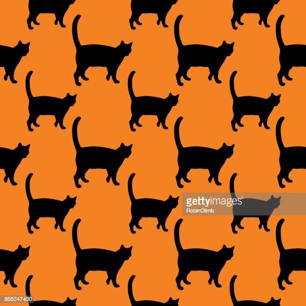 illustrations, cliparts, dessins animés et icônes de chat noir sur fond orange seamless pattern - chat profil
