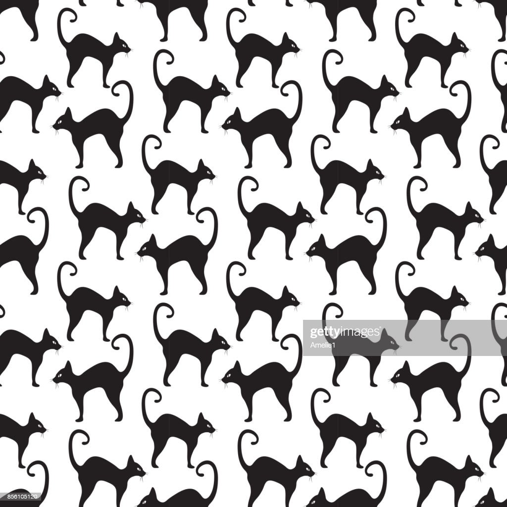 Black cat seamless pattern. Cats repetitive texture. Halloween endless background. Vector illustration.