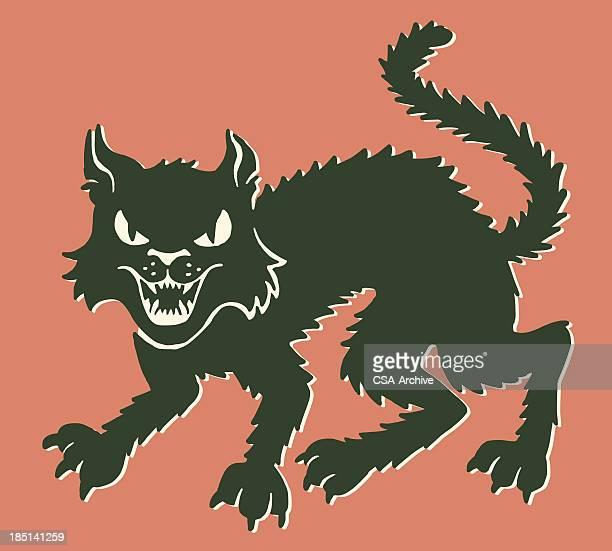 black cat - undomesticated cat stock illustrations
