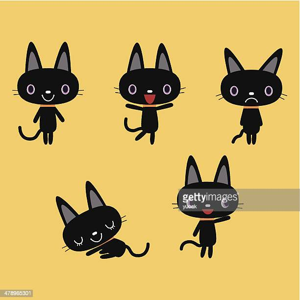 illustrations, cliparts, dessins animés et icônes de chat noir - chat humour