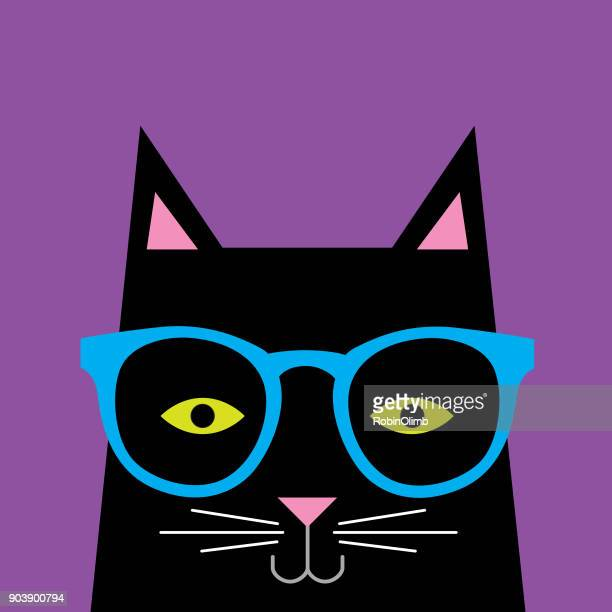 black cat wearing glasses - cute stock illustrations