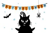 black cat with witchs hat happy