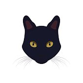 Black cat with yellow eyes. Black Cat vector Illustration.