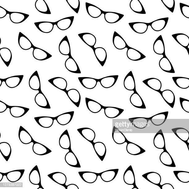 black cats eye glasses seamless pattern - cat's eye glasses stock illustrations