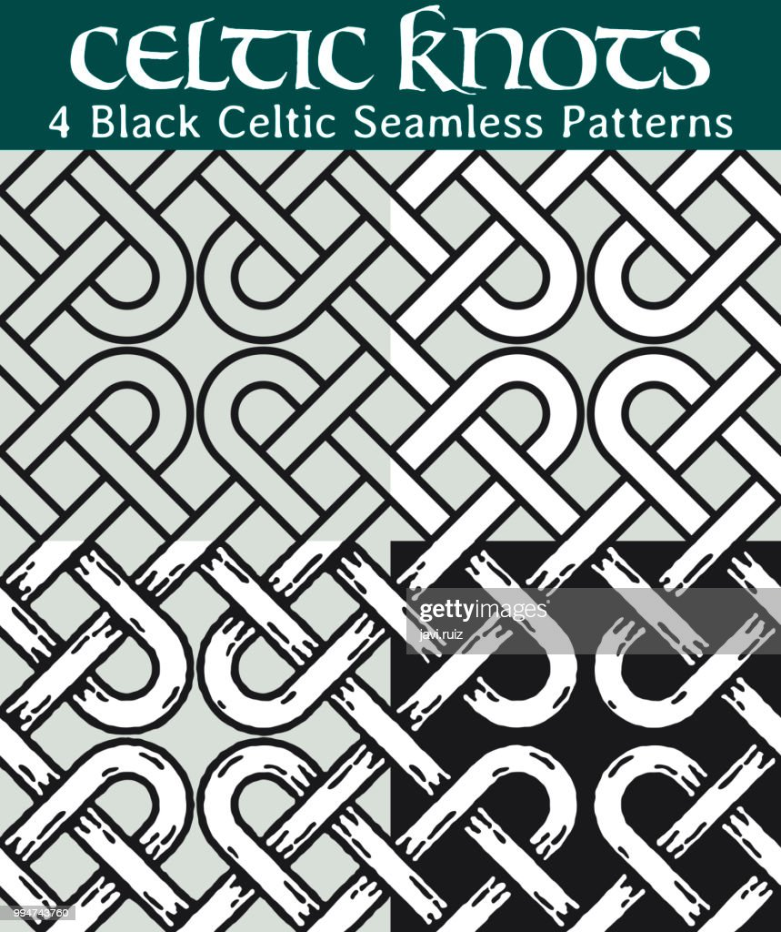 Black Celtic Seamless Patterns