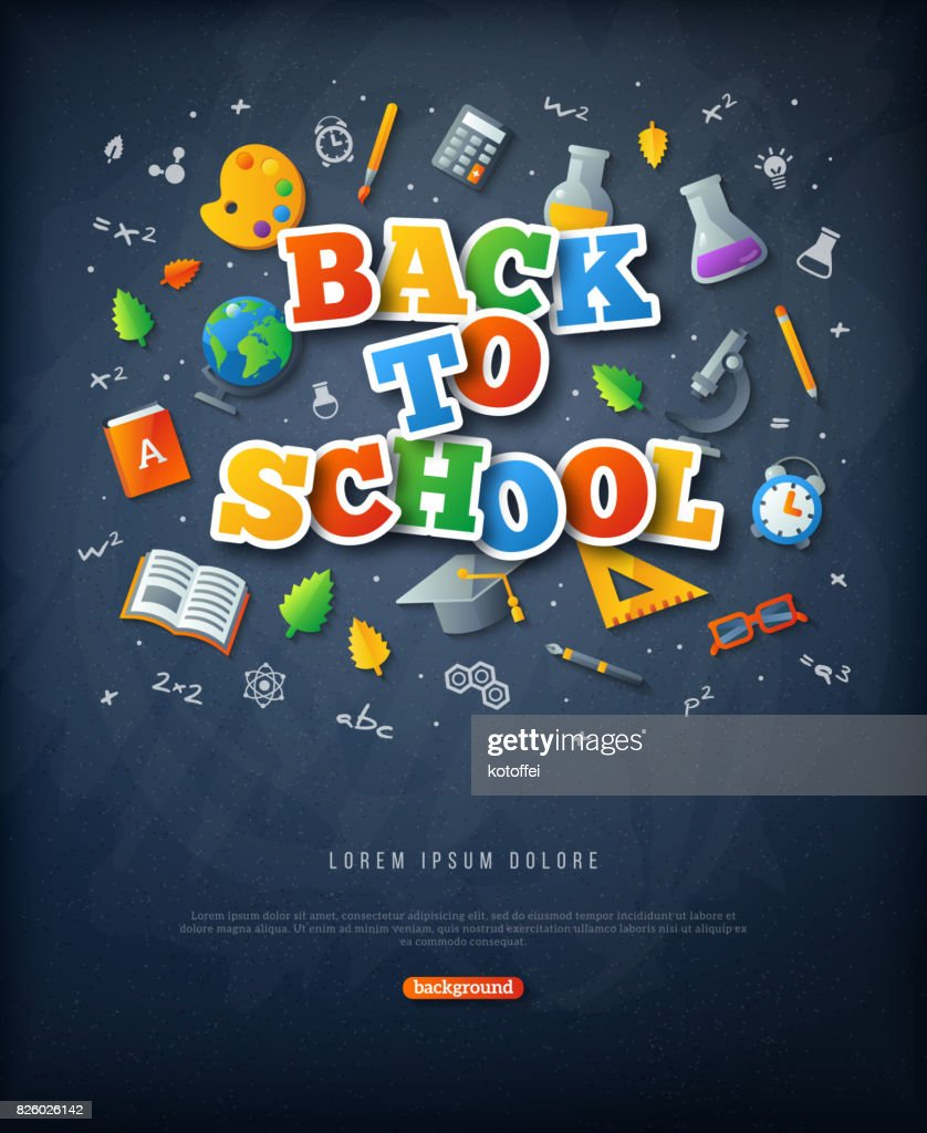 Black chalkboard with Back to school colorful stickers