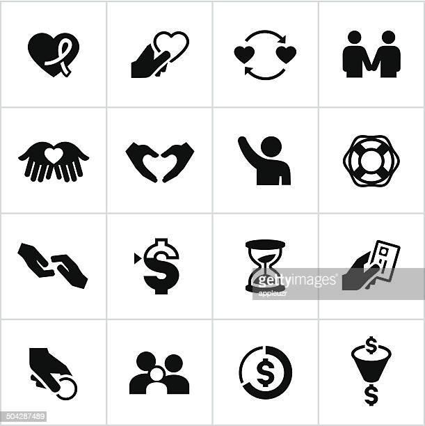 ブラックのチャリティーアイコン - ファンドレイジング点のイラスト素材/クリップアート素材/マンガ素材/アイコン素材