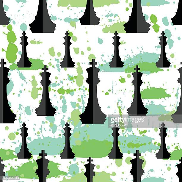 ilustraciones, imágenes clip art, dibujos animados e iconos de stock de black chess pieces  seamless background - tablero de ajedrez