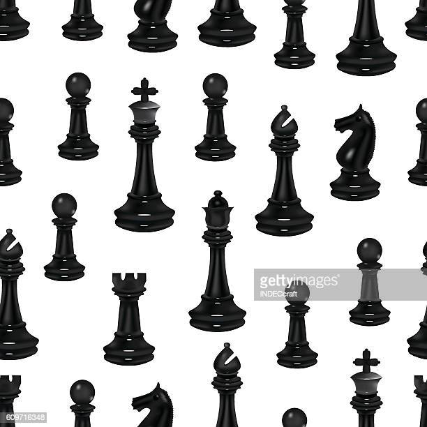 Black Chess Pieces Seamless Background