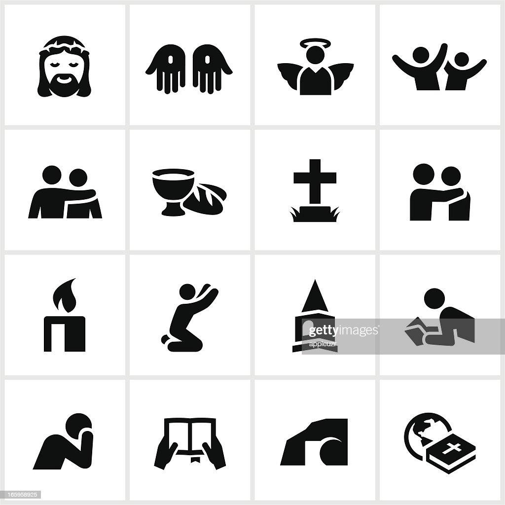 Black Christian Faith Icons : stock illustration