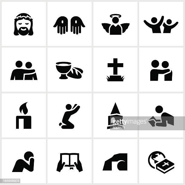 black christian faith icons - jesus stock illustrations, clip art, cartoons, & icons